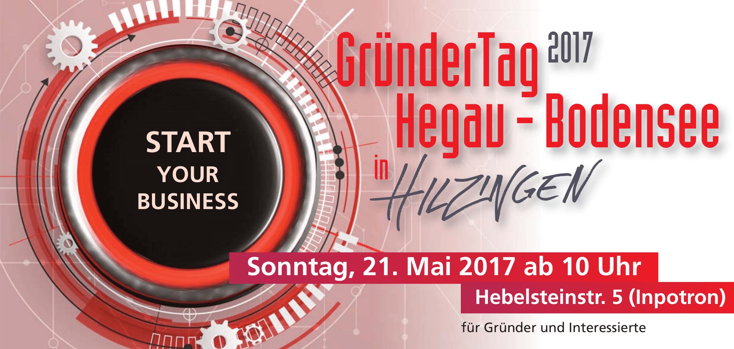 """Gründertag Hegau-Bodensee am 21. Mai 2017 in Hilzingen - mit PR-Seminar für Existenzgründer """"Wie kommt mein Unternehmen in die Zeitung?"""" mit Dozent Holger Hagenlocher"""