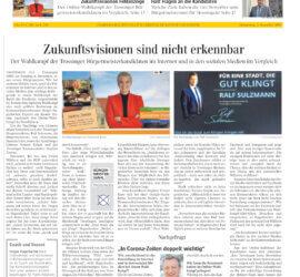 Am 3. Dezember 2020 ist meine Analyse der Online-Kommunikation der Kandidaten zur Bürgermeisterwahl in Trossingen in der Schwäbischen Zeitung (Schwäbische.de) / Trossinger Zeitung erschienen.